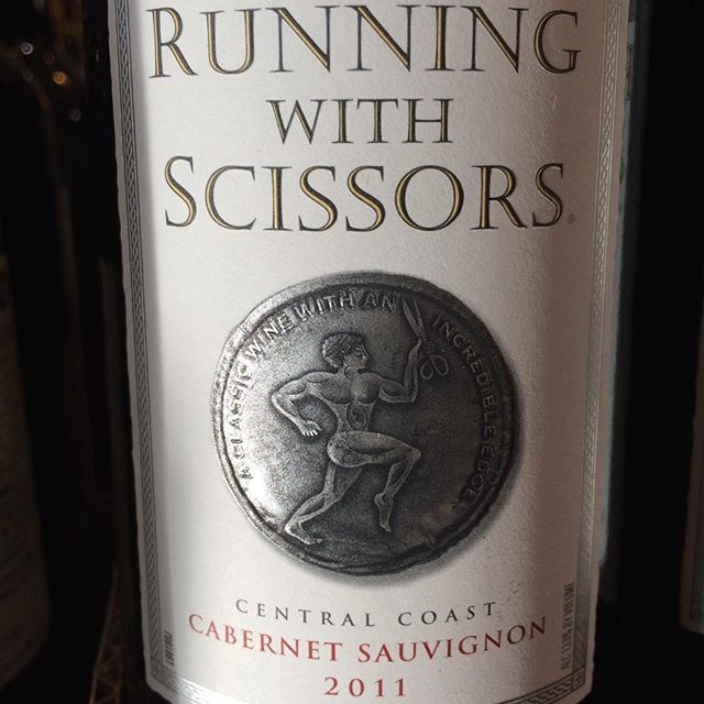 "Day 7 of 31 Days of Halloween wine labels. This one is a scary one that Mom always said... ""Don't run with scissors."" Dangerous indeed. Cheers.⠀.⠀"