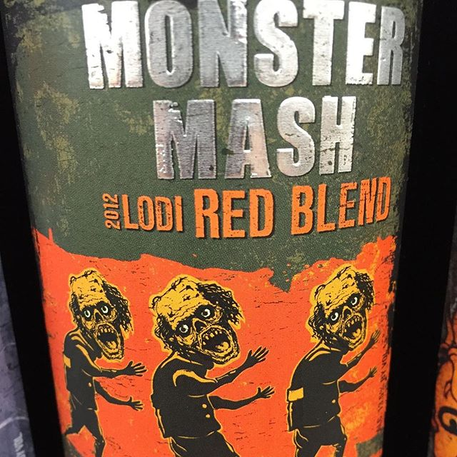 Day 24 of 31 Days of Halloween Wine Labels. I was working at the winery late one night and this happened. Yep, they did it.  The Monster Mash. It was a vineyard smash.#monstermash #lodi #redblend # ⠀