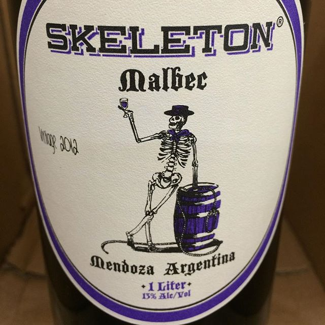 Day 30 of 31 Days of Halloween wine labels. So a skeleton walks into a bar and says pour me a Malbec. The bartender say